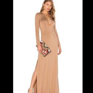 Rachel Pally long sleeve nude lace up dress